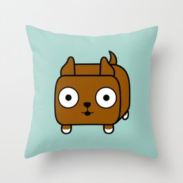 Pitbull Loaf - Red Brown Pit Bull with Cropped Ears Throw Pillow