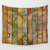 world maps Wall Tapestries featuring Around the World in Thirteen Maps by Diego Tirigall