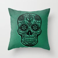 Throw Pillows featuring Skull20151204 by jamfoto