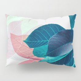 Pink and Blue Leaf Pillow Sham