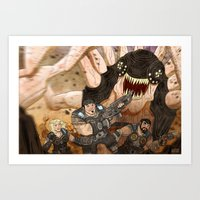 gears of war Art Prints featuring RUN GEARS RUN by Colton Balske