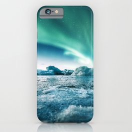 aurora borealis at jakursarlon iPhone Case