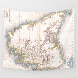 Vintage Map of Tasmania (1837) Wall Tapestry