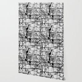 Beijing city map black and white Wallpaper