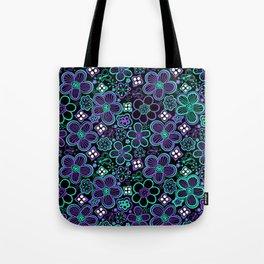 Funky 90s Glow Black Purple Floral Pattern Tote Bag