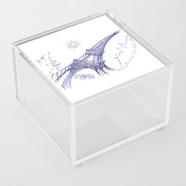 Eiffel Tower in Blue Acrylic Box