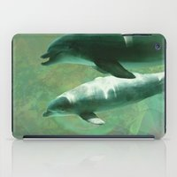 dolphins iPad Cases featuring Two Dolphins by Roger Wedegis