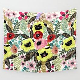 Flower Pugs Wall Tapestry