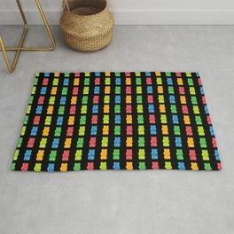 Rainbow Gummy Bears Pattern on Black Background Rug