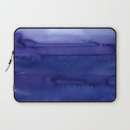 Blue Violet Watercolor Horizontal Stripes Abstract Laptop Sleeve