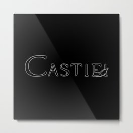Castiel with Feather Black Metal Print