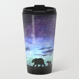 Aurora borealis and polar bears (black version) Travel Mug