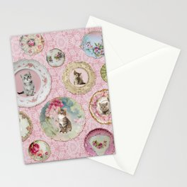 Magical Cat Plates on Pink Lace Wall Stationery Cards