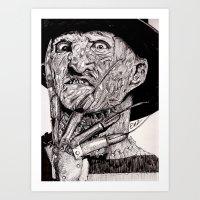 freddy krueger Art Prints featuring Freddy Krueger by Emz Illustration