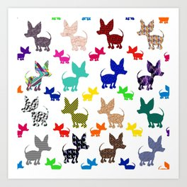 colorful chihuahuas on parade  Art Print