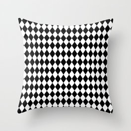 Classic Black and White Harlequin Diamond Check Throw Pillow