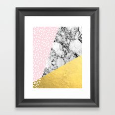Trini - abstract painting texture gold pastel pink marble trendy hipster minimal art design bklyn  Framed Art Print