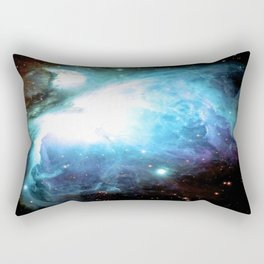Orion Nebula Aqua Periwinkle Gold Rectangular Pillow