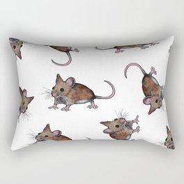 Cute Brown Field Mice, Mouse, Oil Pastel Art, Pattern Rectangular Pillow