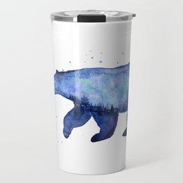 Blue Galaxy Forest Bear Silhouette Travel Mug