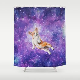 Space Corgi Shower Curtain