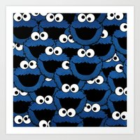 cookie monster Art Prints featuring Cookie Monster  by aldarwish
