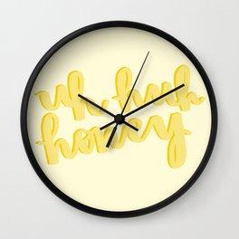 Uh Huh Honey Yellow Wall Clock