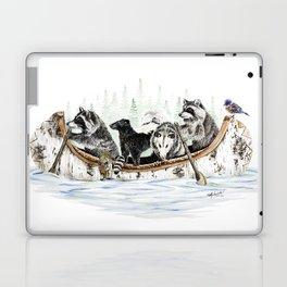 """ Critter Canoe "" wildlife rowing up river Laptop & iPad Skin"