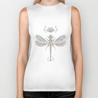 dragonfly Biker Tanks featuring Dragonfly by Joanne Hawker
