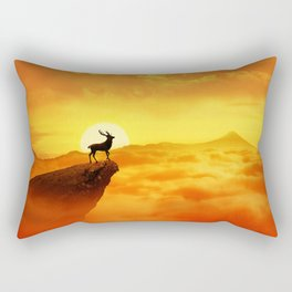 lonely sunset deer Rectangular Pillow