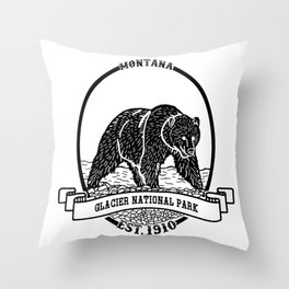 Glacier National Park Emblem Throw Pillow