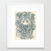 leaf Framed Art Prints featuring Tiger Tangle by micklyn