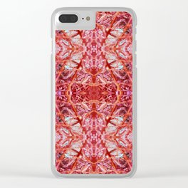 114- Large red and purple pattern Clear iPhone Case