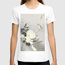 Bird on a Peony tree - Vintage Japanese Woodblock Print Art T-shirt