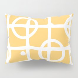 Yellow White Circle Squares Pillow Sham