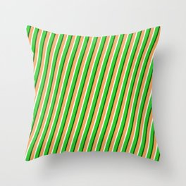 Brown, Mint Cream, Lime Green & Dark Green Colored Lined Pattern Throw Pillow