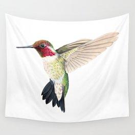 Anna's Hummingbird in Flight Wall Tapestry