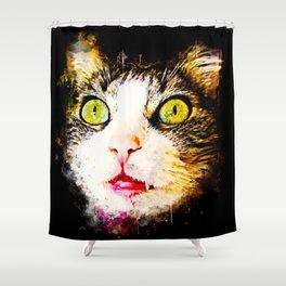 norwegian forest cat omg splatter watercolor Shower Curtain