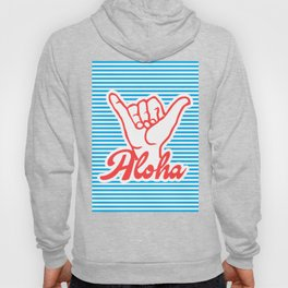 Aloha, Shaka Hand, blue version, summer poster, Hoody