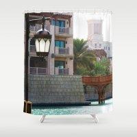 arab Shower Curtains featuring Dubai - Outside Burj Al Arab by gdesai