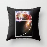 fibonacci Throw Pillows featuring Fibonacci Spiral Galaxy by Galactic Mantra