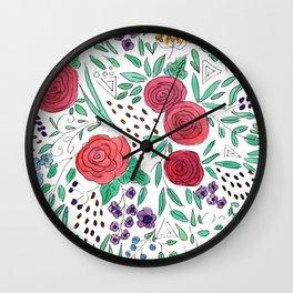 Flower meadow . Watercolor . Wall Clock