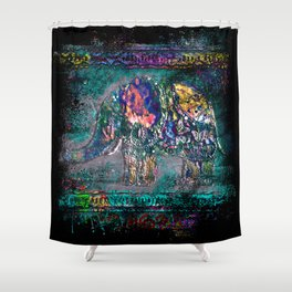 Fantastic elephant in grunge style Shower Curtain