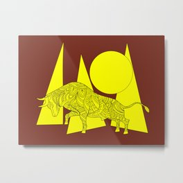 yellow geometric composition on the brown with bull Metal Print