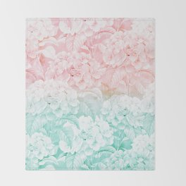 Modern white pink teal ombre hortensia floral Throw Blanket