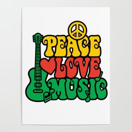Reggae Peace Love and Music Poster