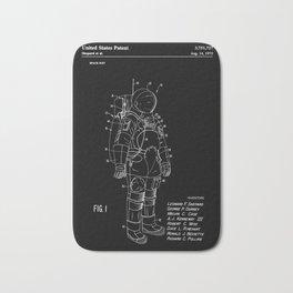 NASA Space Suit Patent - White on Black Bath Mat