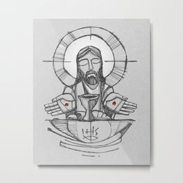 Jesus Christ Eucharist illustration Metal Print