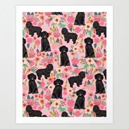 Black Cockapoo Floral dogs, dog blanket, dog mug, cute dog breeds Art Print