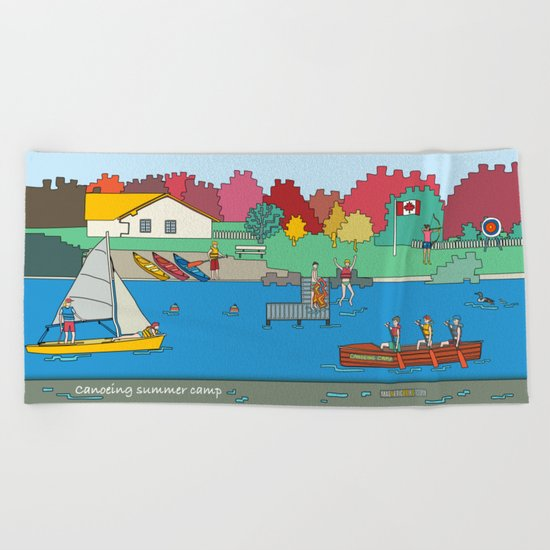 Canoeing Summer Camp Beach Towel